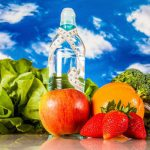 Ftness theme with fruts, vegetables, bright blue background