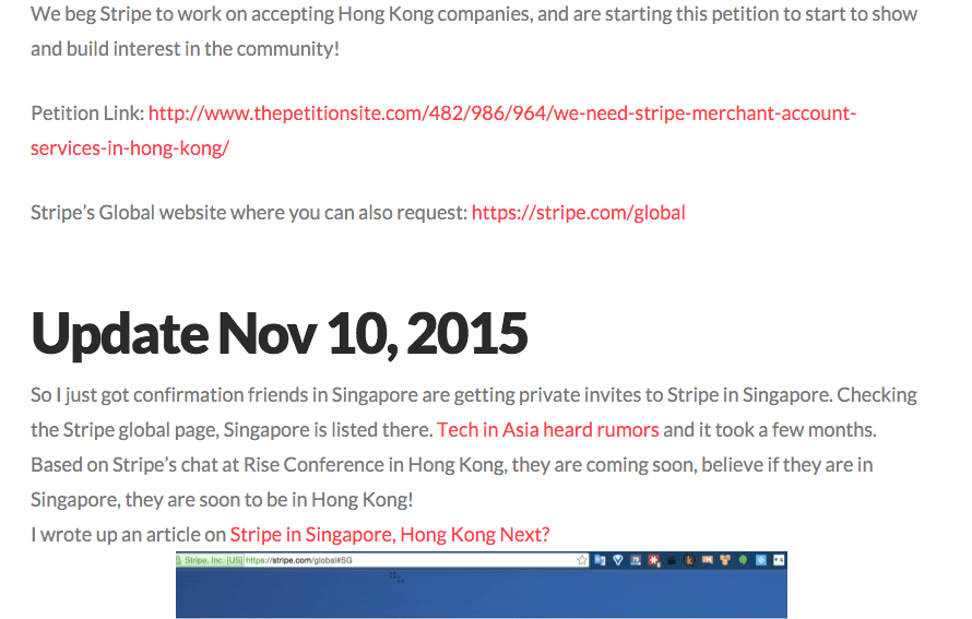 Stripe ignores calls to provide payment processing to HK companies.