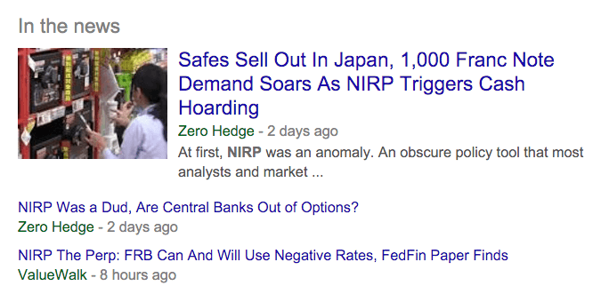 Just take a look at these recent headlines to see that NIRP, ZIRP and war on cash is real.